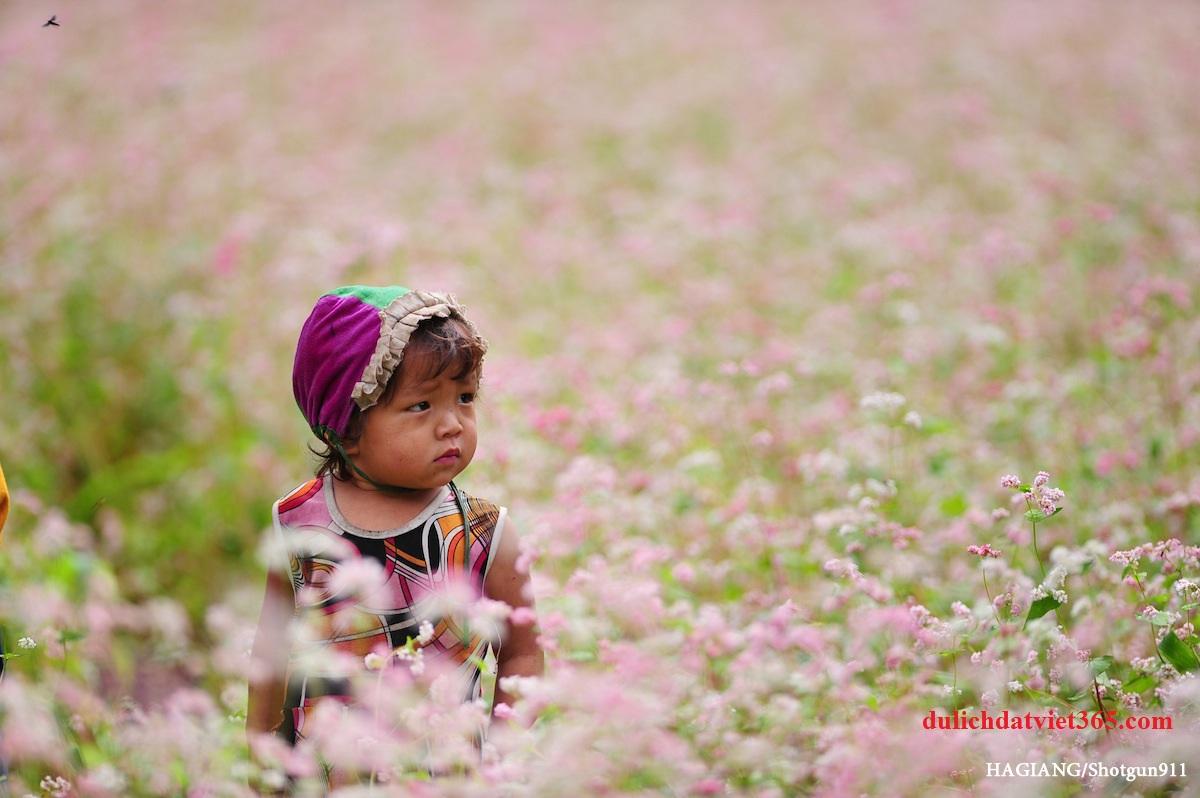 em bé trên vườn hoa